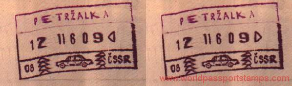 Czechoslovakia - stamps from border crossing, 1986