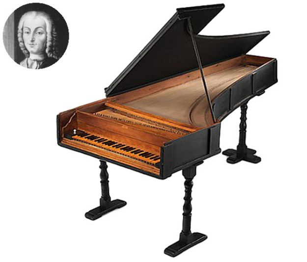 Cristofori piano and portrait