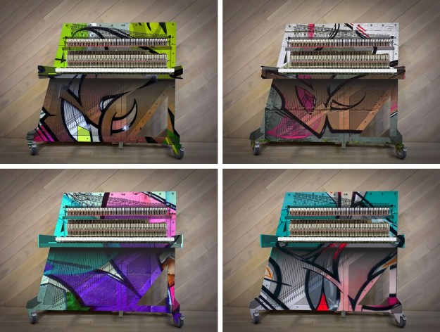 Four of the images showing various designs applied to Klavins Una Corda Art-line pianos