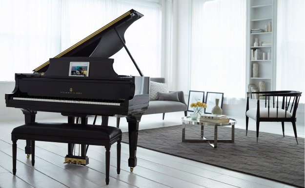 Steinway grand piano being controlled by SPIRIO player piano system