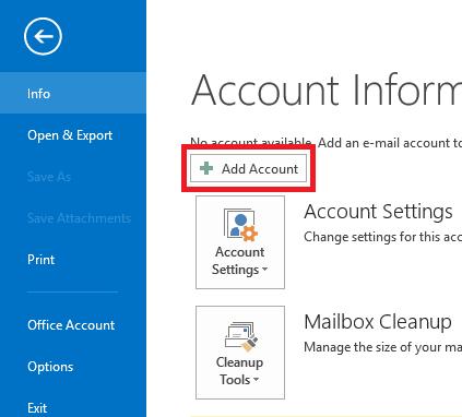 add account - IMAP Configuration for WorldPosta