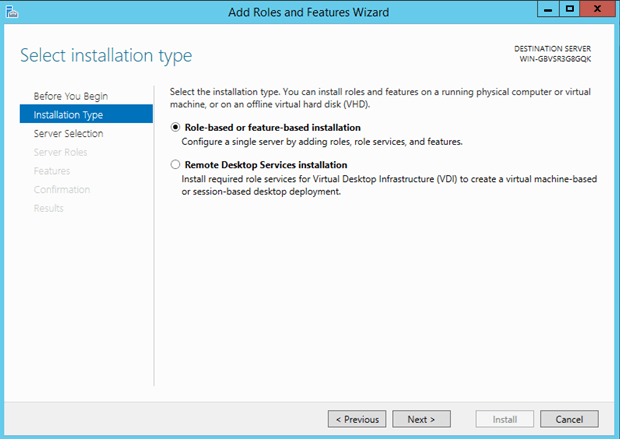 select the installation type - Set up an internal SMTP service for Windows Server 2012