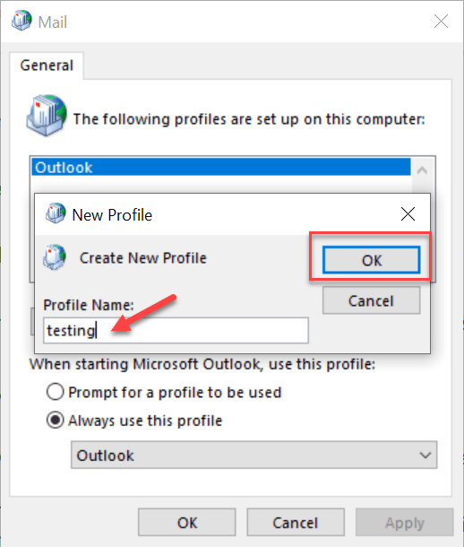 new profile name - Corrupted Outlook profile