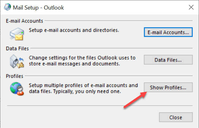 show profile - Corrupted Outlook profile
