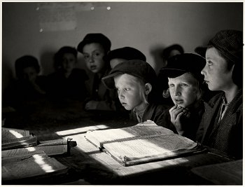 Religious Jewish children studying