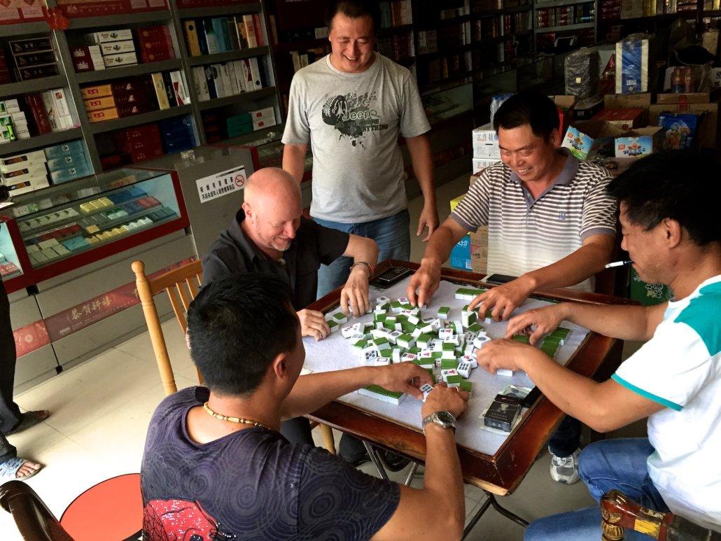 Playing Mahjong in Beijing