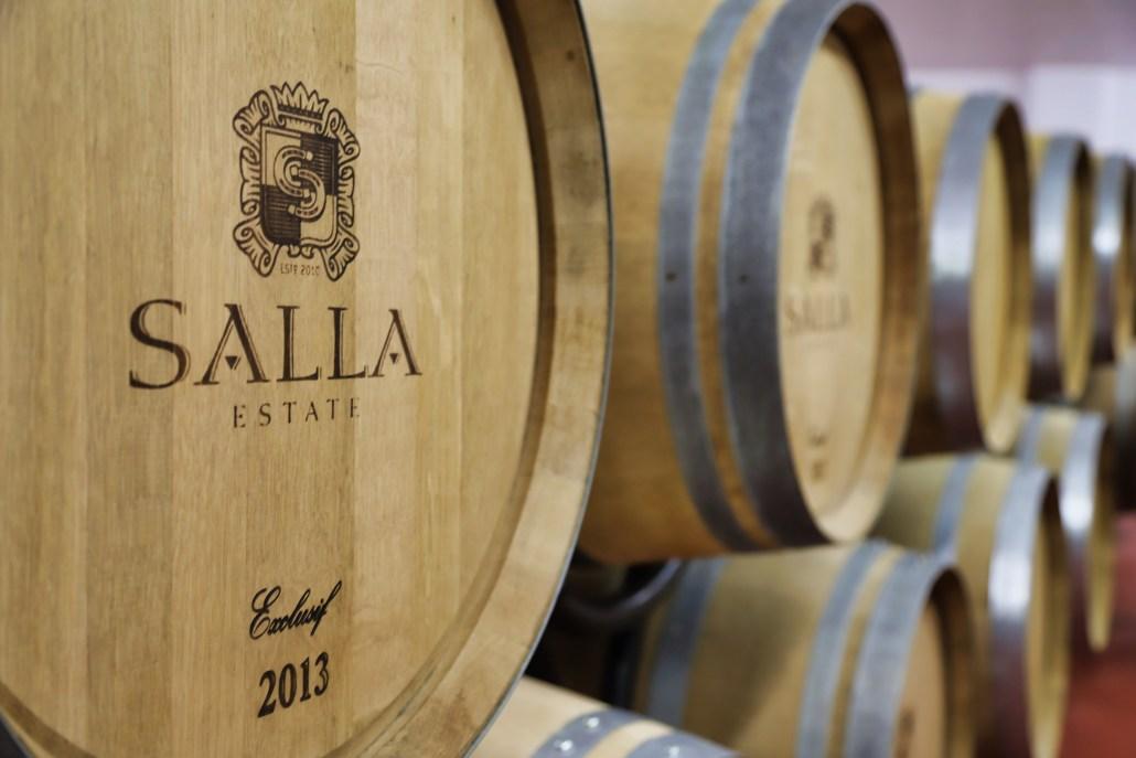 Oak barrels at Salla Estate vineyard in Blaskovo Bulgaria