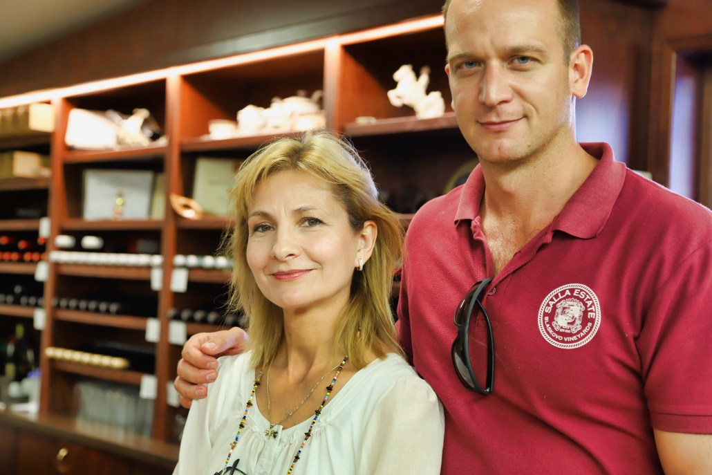 Salla Estate winemaker Anelia Hristakieva with Stefan Ivanov inside the winery and tasting room.