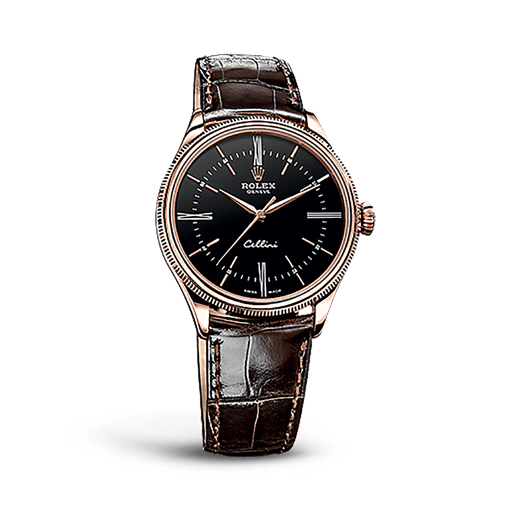 Rolex Cellini Time 50505 Rose Gold Watch Black Worlds