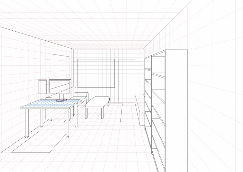A Ongoing Living Room Drawing In One Point Perspective Update 03 Part 41