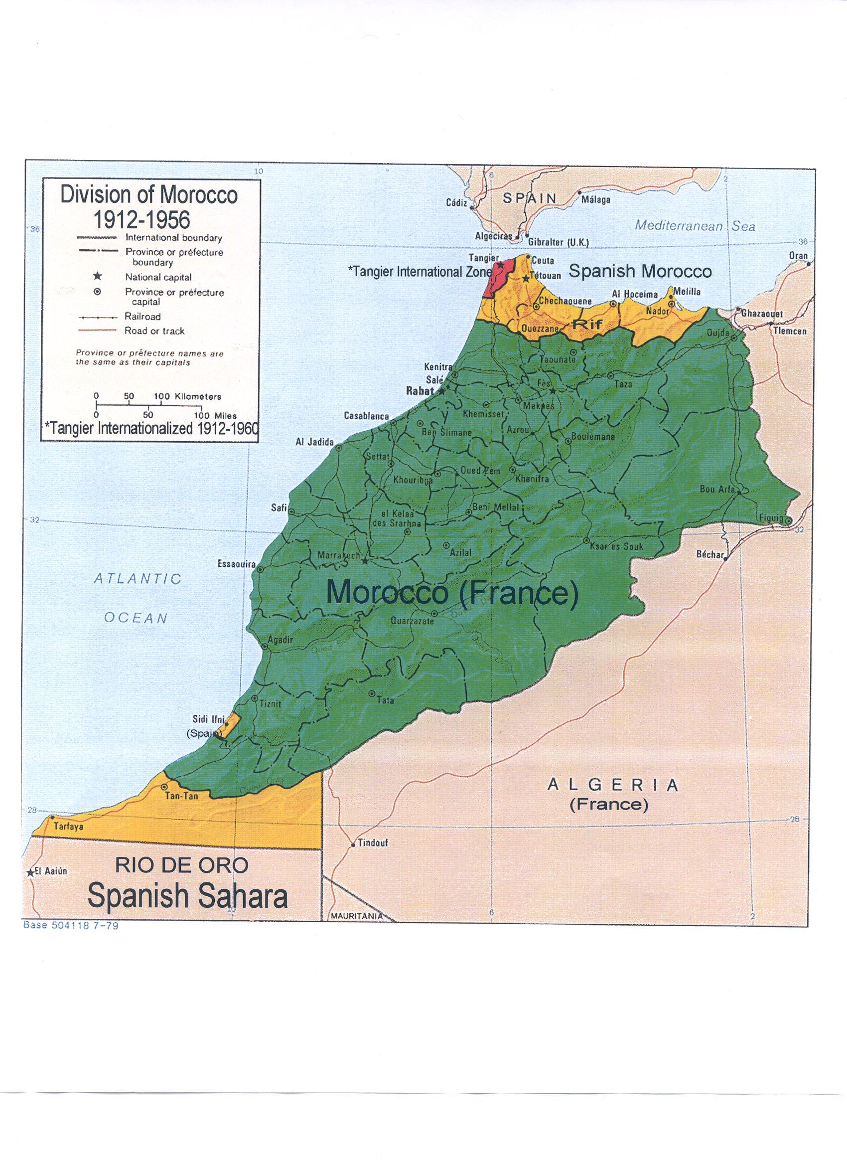 En vert : le Maroc sous protectorat français, en rouge : la zone internationale de Tanger, en jaune : le Maroc sous protectorat espagnol © Worldstatesmen.org