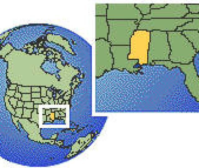 Mississippi United States As A Marked Location On The Globe