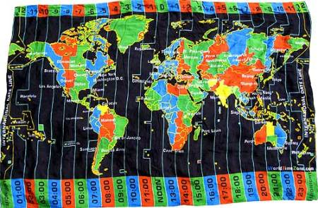 World Time Zone beach sarong  black background world time Beach Blanket