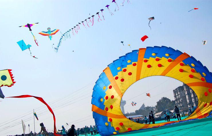 Indian Festivals in January National Kite Festival
