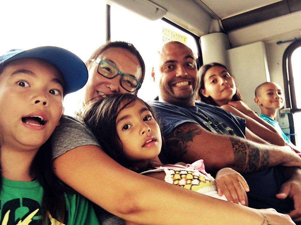 bus montevideo selfie uruguay kids