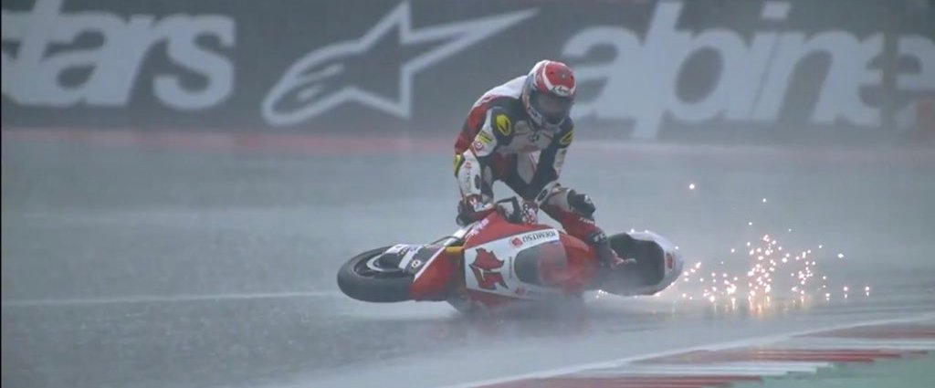 Moto GP Rider Styles Out Crash