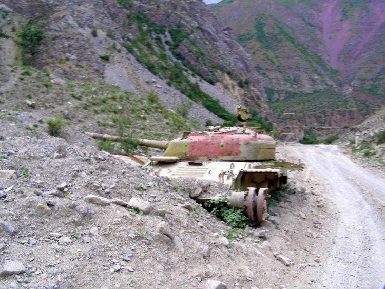 Civil War tank on Tajikistan Road to Khorog