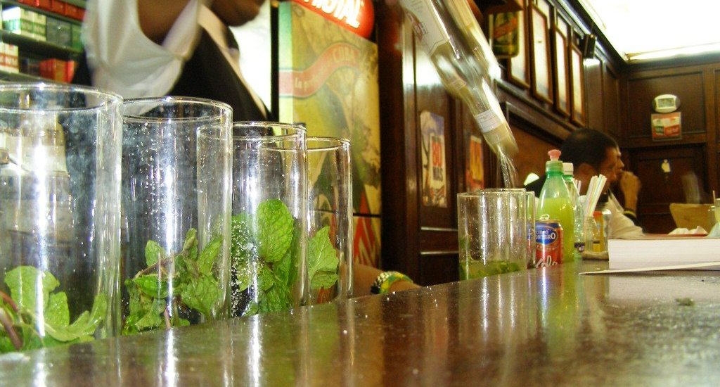 Lining up the Mojitos in Havana, Cuba