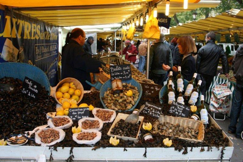Bastille market seafood, Paris