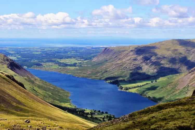 Wastwater from the Scafell Pike track Lake District England