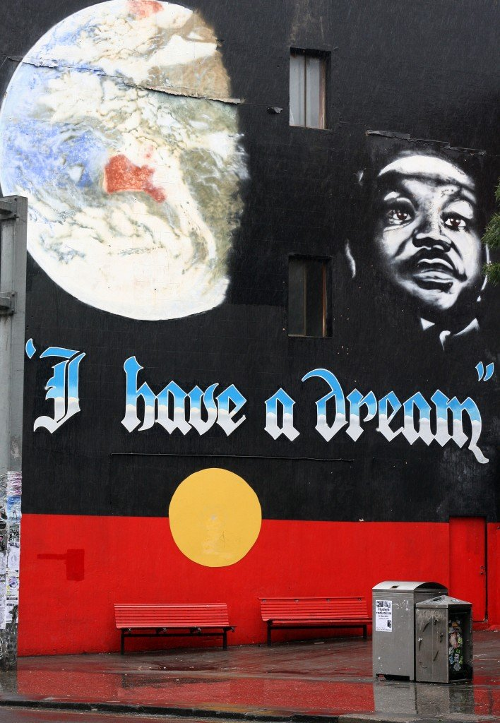 Martin Luther King Jr street art in Newtown, Sydney, Australia