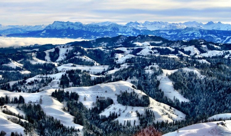 Emmental Valley under snow and from the air, Switzerland