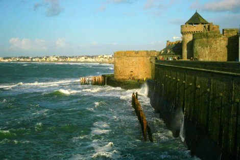 St Malo sea walls Brittany France