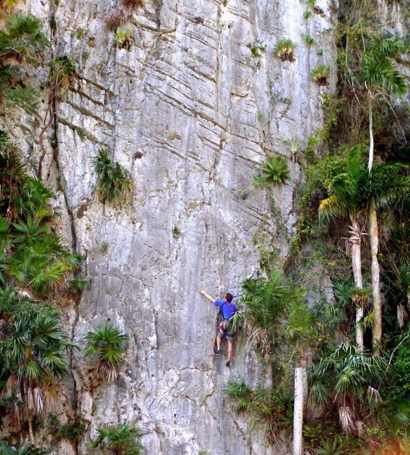 Rock climbing in Vinales, Cuba