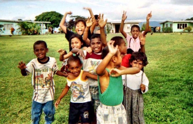 Smiling children in Fiji Islands
