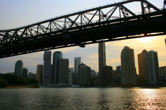 River Cruise under the Storey Bridge in Brisbane, Australia
