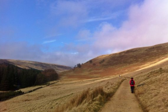 Walking around the Upper Derwent Valley reservoir, Derbyshire