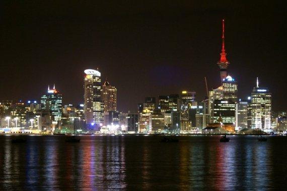Auckland city at night, New Zealand