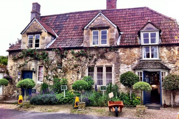 Chocolate box houses in Lacock, Wiltshire England