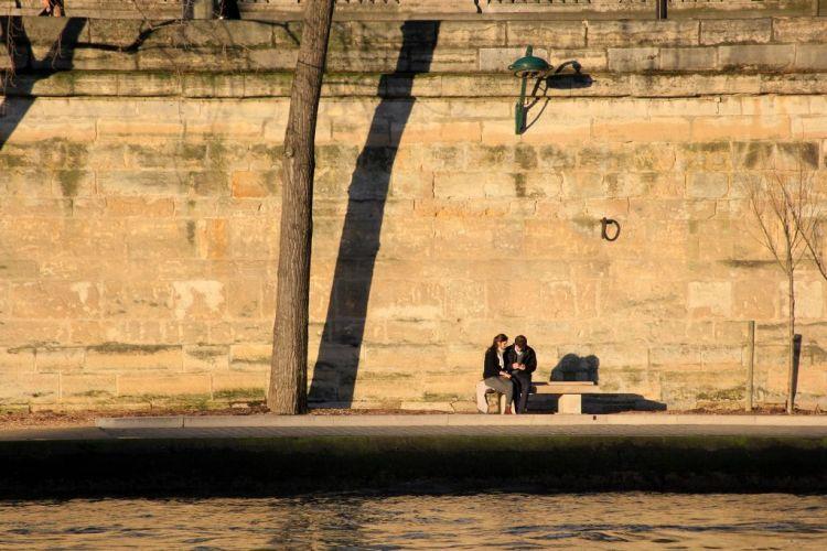 Romantic Paris view from the Pont des Arts