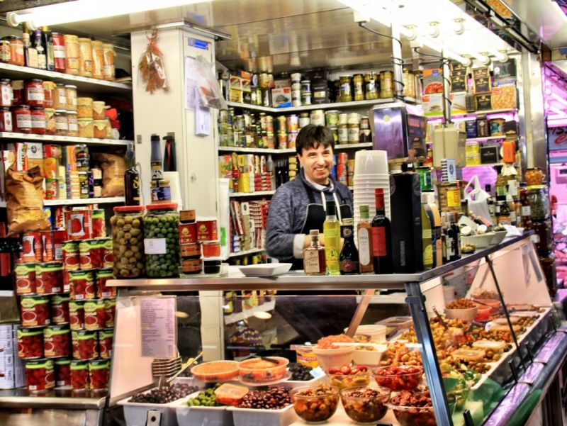 Olive stall at El Mercat de l'Abaceria Central in Barcelona