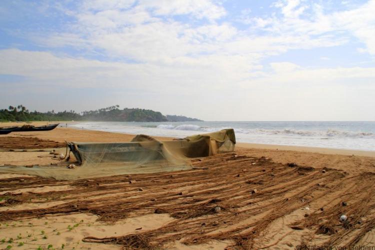 Talalla Beach fishing boats Sri Lanka