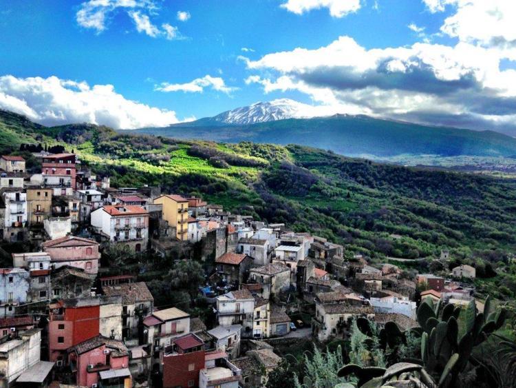 View of Castiglione di Sicilia and Mt Etna