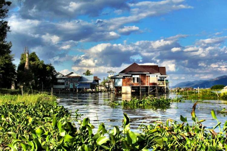 Inle Lake gardens and houses Myanmar