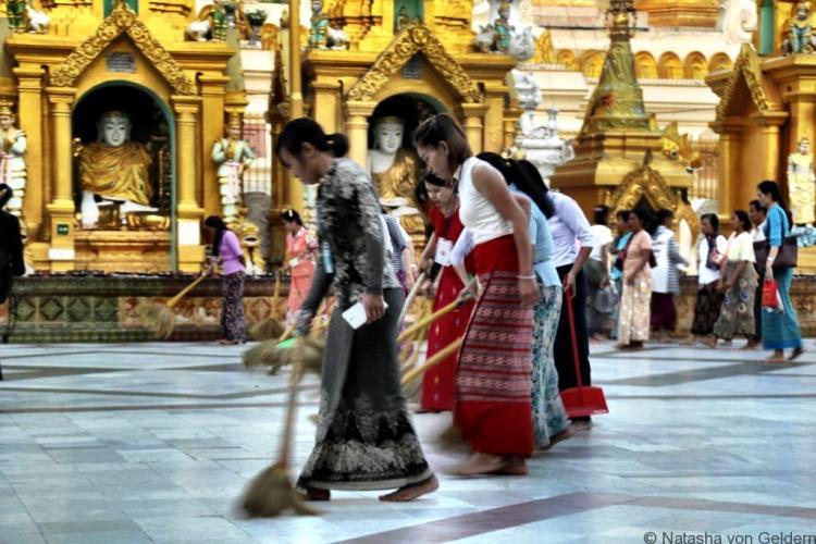 Shwedagon Pagoda Yangon Myanmar sweeping