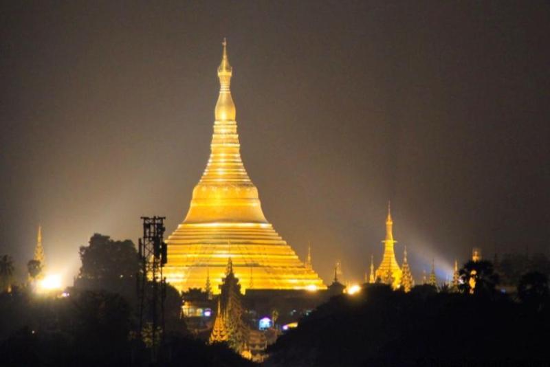 Schwedagon Pagoda Yangon skyline Myanmar