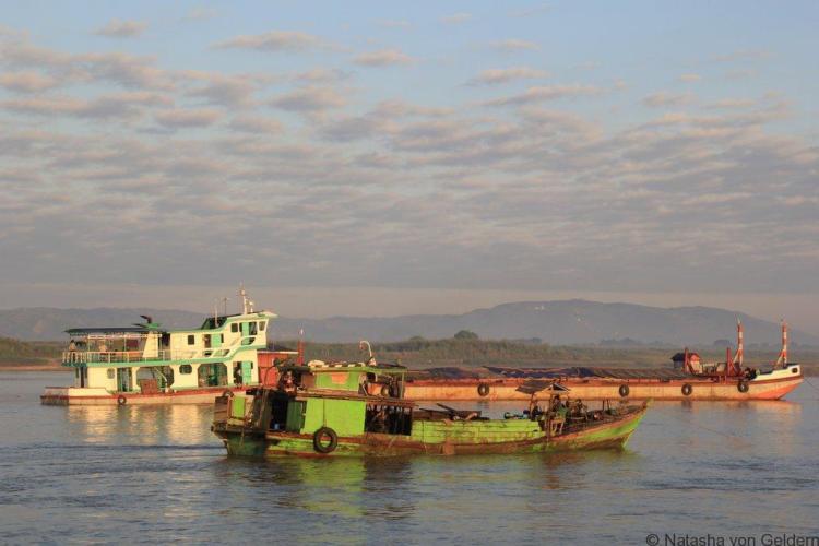 Boat from Mandalay to Bagan in Myanmar