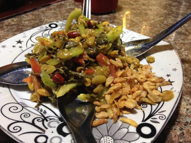 Laphet pickled tea leaf salad Myanmar