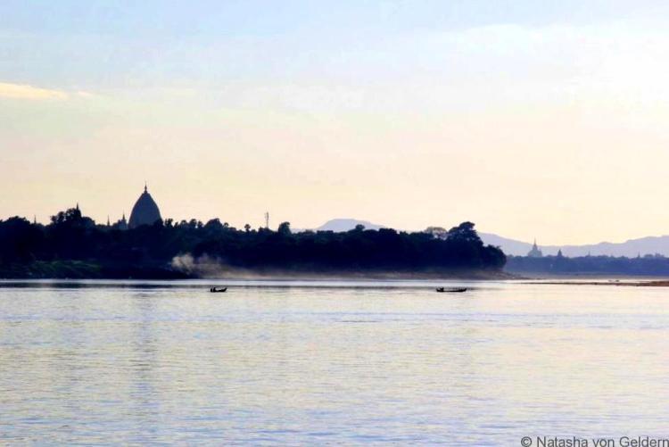 Mandalay to Bagan boat approaching Bagan Myanmar