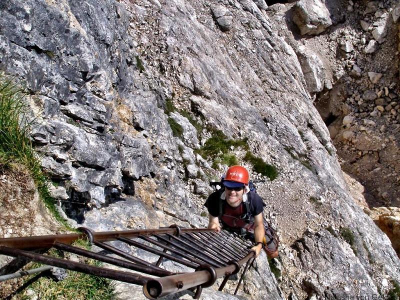 Via ferrata kopėčiomis Dolomituose