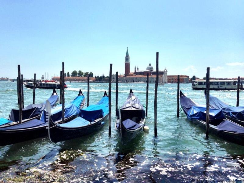 Venice lagoon and gondolas Italy