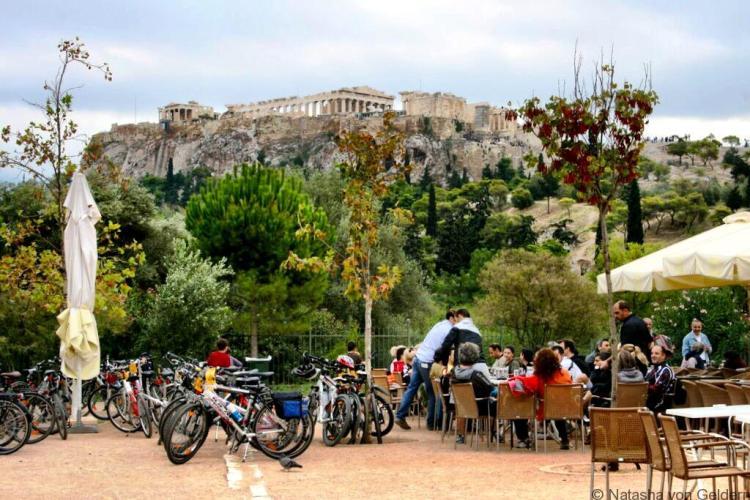 Cafe Parthenon View Athens Greece