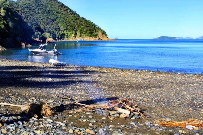 Boating in Wharetea Bay Marlborough Sounds New Zealand