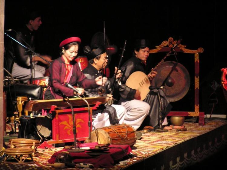 Water Puppet Theatre musicians in Hanoi Vietnam