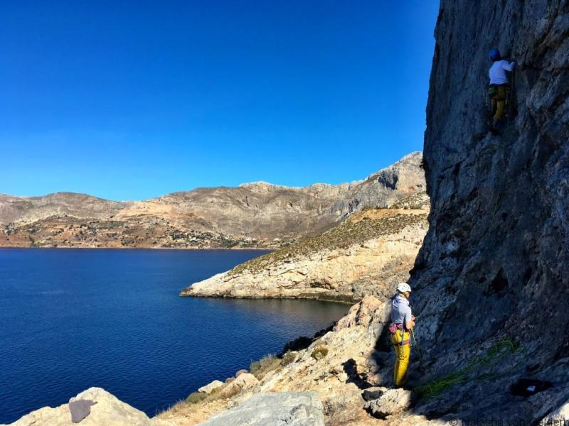 Rock climbing at Kastelli on Kalymnos, Greece