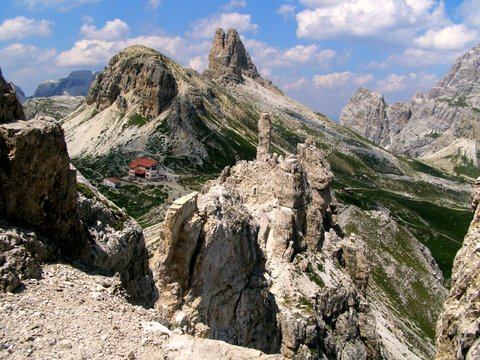 High in the Dolomite Mountains of Italy - via ferrata routes